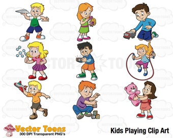 Kids Playing Clip Art, Digital Clipart, Digital Graphics