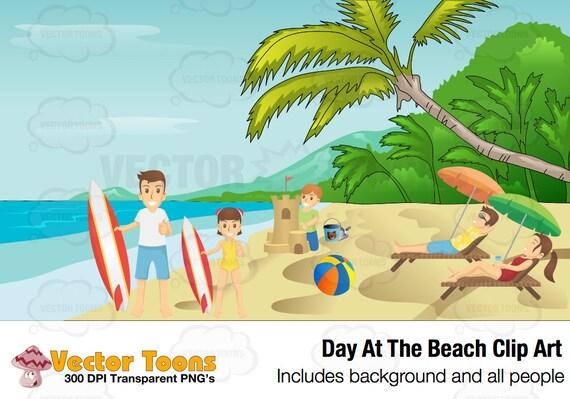 Day At The Beach Clip Art Digital Clipart Digital Graphics