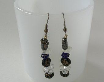 Black Bead Earrings, Clear Bead Earrings, Black Glass Earrings, Beaded Earrings, Black Dangle Earrings, Hook Dangle Earrings, Gift For Her