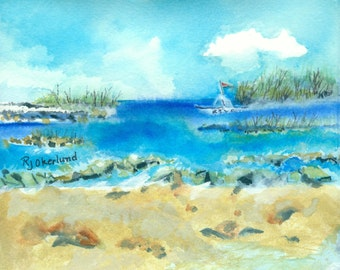 Washing Ashore - by Ruth J. Okerlund, package of two note cards with envelopes