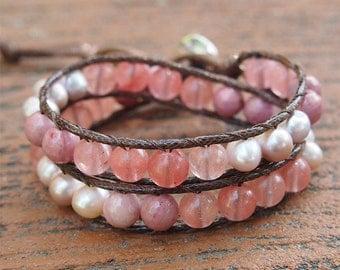 2 times wrap bracelet, Pink Lepidolite, Cherry Quartz, Freshwater pearl, Beadwork bracelet, Boho bracelet