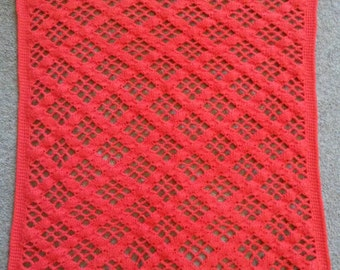 Crochet Openwork Baby Blanket in red.