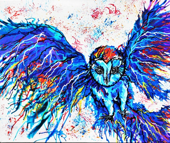 Abstract Barn Owl Art Original Acrylic Painting