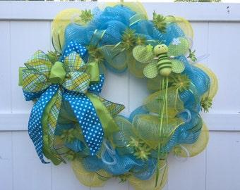 Whimsical Wreath, Summer Wreath, Spring Wreath, Deco Mesh Wreath,