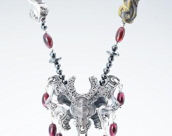 """ヤタノカカミ・降乃石 """"Yatanokakami-Kou with stones""""  Handmade silver necklace"""
