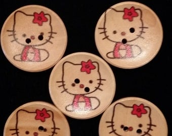 Free Shipping, Five (5), 30mm Hello Kitty wooden buttons, free shipping