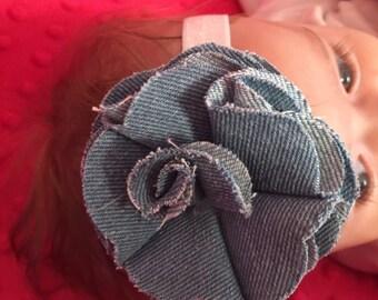 Denim flower baby headband