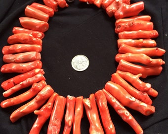 Huge Chunky Red Coral necklace