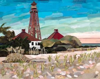 Sanibel Lighthouse Fine Art Print, Magazine Collage, Upcycle, Beach, Landscape, Sanibel, Ocean, Nature, Recycle, 8x10, 11x14, 16x20