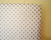 Fitted Crib Sheet-Gold Sparkle Dot-Riley Blake Fabric-Modern Metallic Shimmer-Baby Bedding Crib Sheet or Mini Crib Sheet