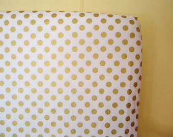 Fitted Crib Sheet-Gold Sparkle Dot-Riley Blake Fabric-Modern Metallic Shimmer-Baby Bedding Crib Sheet or Mini Crib Sheet