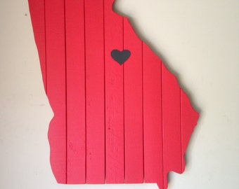 State Wall Art With Heart Over City