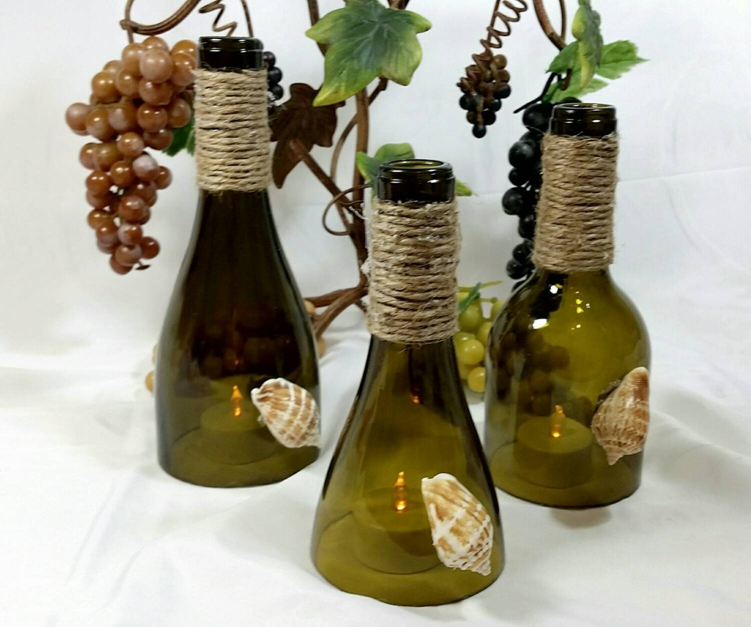 sale recycled wine bottle hurricane toppers by