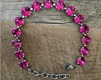 Swarovski Hot Pink Crystal Bracelet 8mm (Fuchsia)