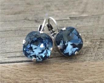 Swarovski Crystal Cushion Cut 12mm Earrings Denim Blue set in Antique Silver