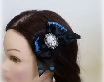 Black and Blue Hair Bow Clip with Framed Victorian Zombie Centerpiece Goth