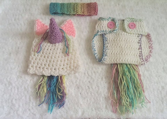 Crochet unicorn hat and diaper cover 3 piece by NissCrochetingShop