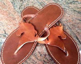 Horse Flip Flops gift summer leather handmade
