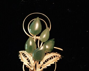 Gold Tone and Jade Colored Stone Brooch
