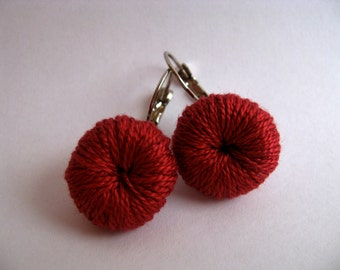 Crochet earrings. Red earrings. Crochet jewelry. Coton jewelry