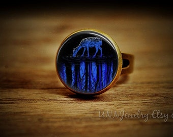 Deer Drink Water Rings Womens Vintage Ring Retro Woodland Statement Ring Adjustable Boys Kid Novelty Wedding Bridesmaid jewelry gift for her
