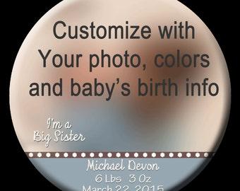 """3"""" Birth Announcement -Keepsake Photo Button"""