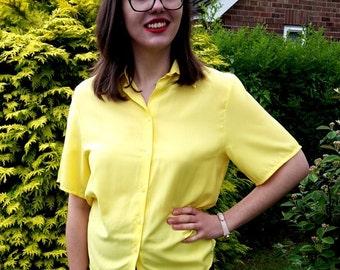 Yellow blouse, womens vintage shirt, vintage blouse, summer blouse