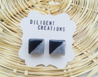 Black & Silver Square Abstract Polymer Stud Earrings