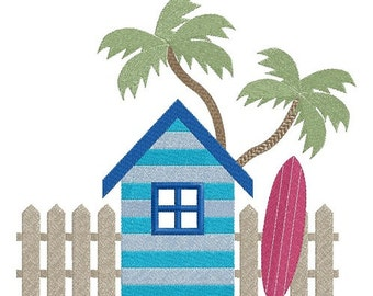 Beach Cabin and Surf machine embroidery design