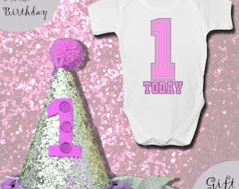 Baby GIRLS FIRST BIRTHDAY Gift Set - Baby Grow With Matching Hat