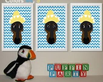Baby Boy Nursery Art Chevron Dachshund Nursery Prints, Kids Wall Art Baby Boys Room, Baby Nursery Decor