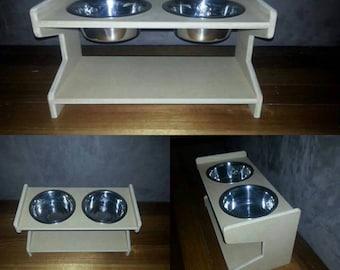 Medium Elevated MDF Pet (x2) Bowls Stand, Raised Dog Bowl Stand, Dog Bowl Stand