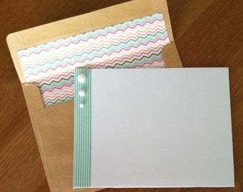 Flat Notecards, Handmade, Set of 12, Pinstripes and Bubbles//notecard set//stationery set//washi tape//retro notecards