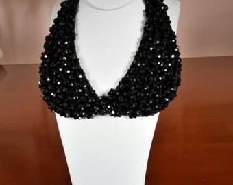 Black faceted jet antique necklace collar