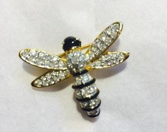 Vintage Swarovski Crystal Rhinestone Bee Brooch / pin - Swarovski Jewelry