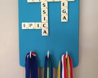 Personalised scrabble medal holder