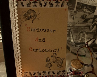 Alice in Wonderland Handmade A5 Notebook Curiouser and Curiouser