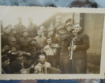 Original Photo Snapshot Soldiers Musical Instruments WWI Era