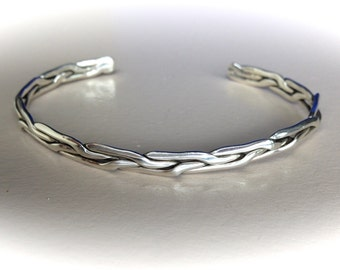 Sterling Silver Cuff Plaited Bracelet
