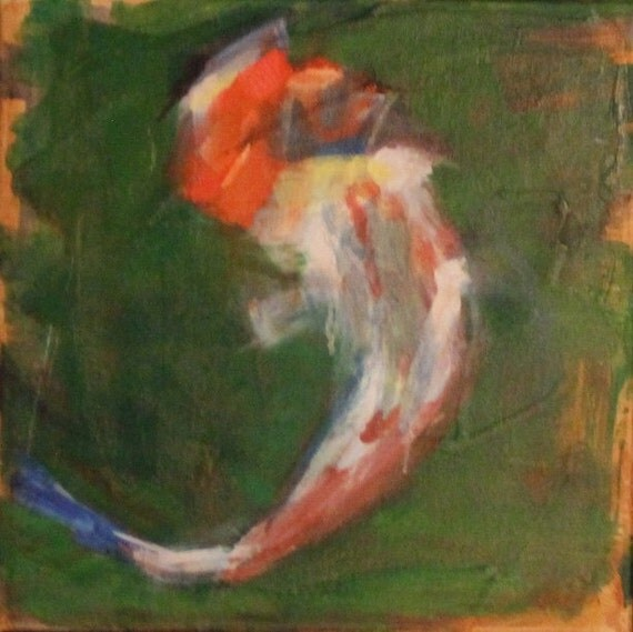 Koi fish original oil painting 12 x 12 by jillopelka on etsy for Original koi fish