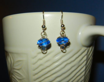 Round Wire Wrapped Glass Earrings