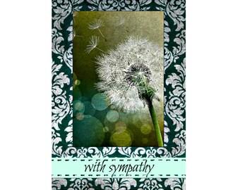 Sympathy Dandelion. Condolence Card, Sympathy Card