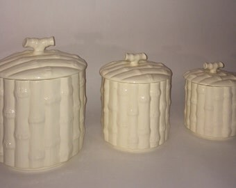 Bamboo ceramic canister set