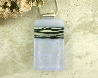 Lavender Zebra Striped Glass Necklace - Silver, Black and Lavender Dichroic Glass Pendant - Animal Print Necklace