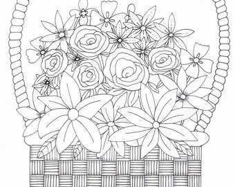 Adult colouring page - basket of flowers