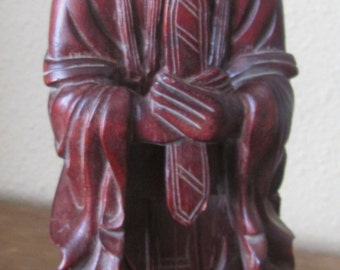 Wood Sculpture, Red Wood Figurine, Asian Priest/Holy/Wise Man, Vintage Asian Decor, Mid Century Art