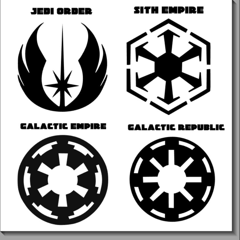star wars logos and symbols vinyl decals. Black Bedroom Furniture Sets. Home Design Ideas
