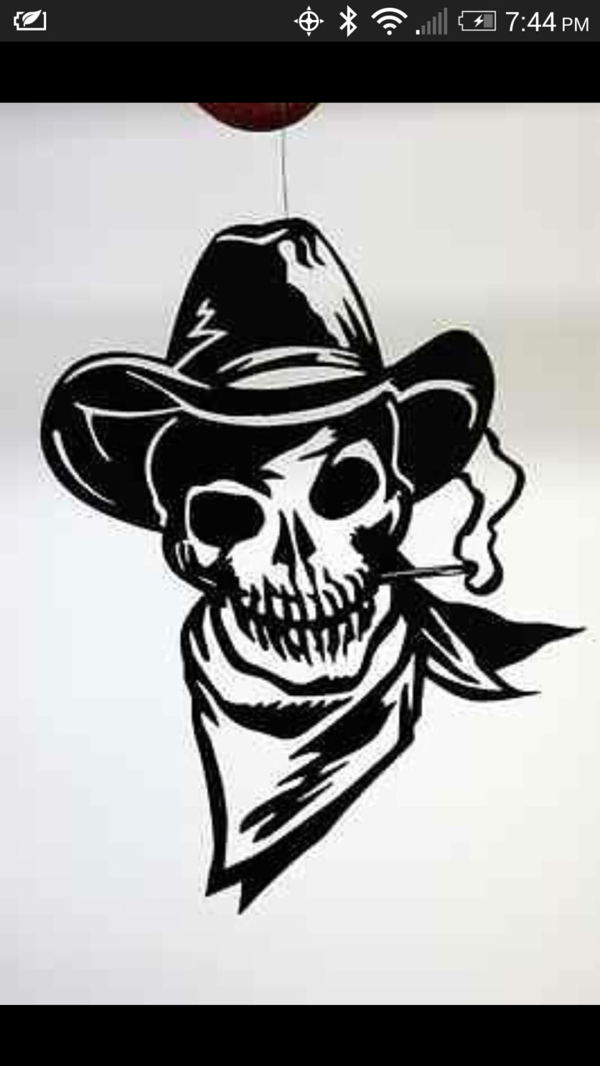 outlaw cowboy skull DXF file for CNC plasma laser and router Outlaw Cowboy Skull
