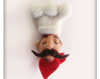 Proud Chef Brooch, Needle Felted Jewelry, Felted Jewelry, Wool Sculpture, One of a kind, OOAK, Daddy Wool