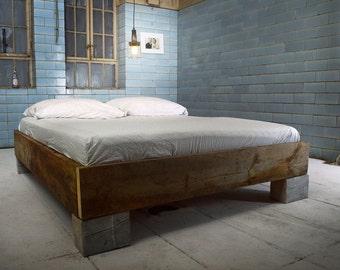 Handmade of bed from reclaimed wood CUCURON